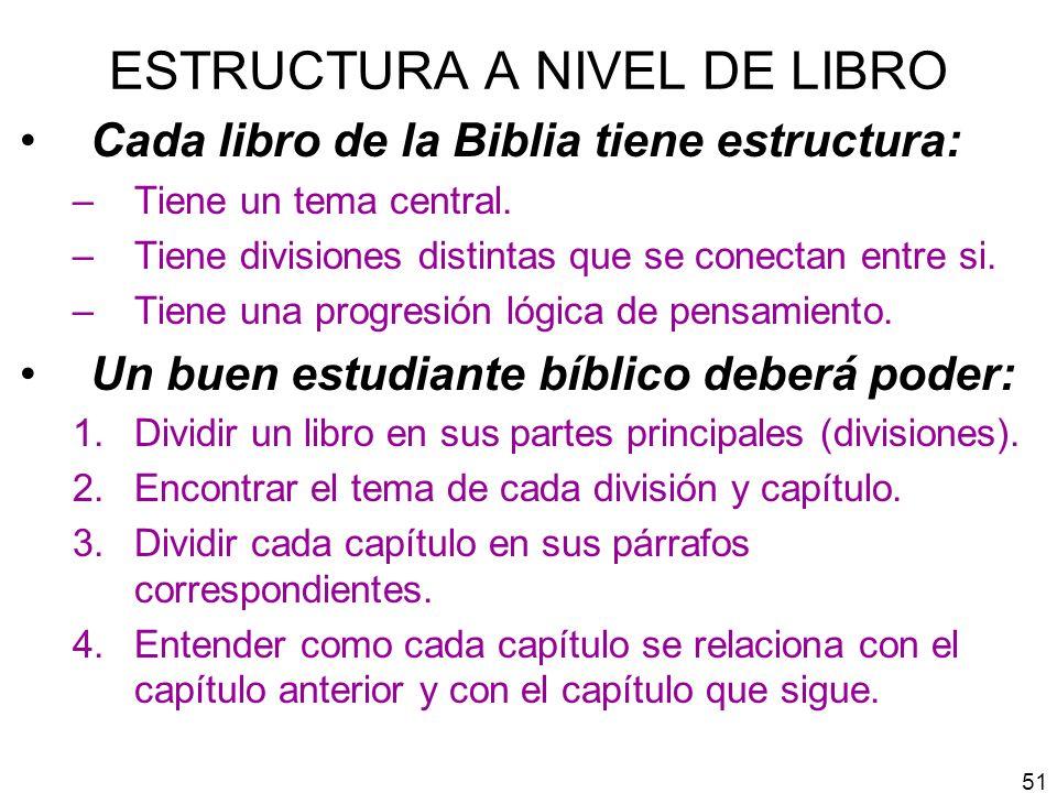 ESTRUCTURA A NIVEL DE LIBRO Cada libro de la Biblia tiene estructura: –Tiene un tema central. –Tiene divisiones distintas que se conectan entre si. –T