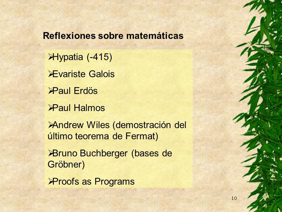 10 Reflexiones sobre matemáticas Hypatia (-415) Evariste Galois Paul Erdös Paul Halmos Andrew Wiles (demostración del último teorema de Fermat) Bruno