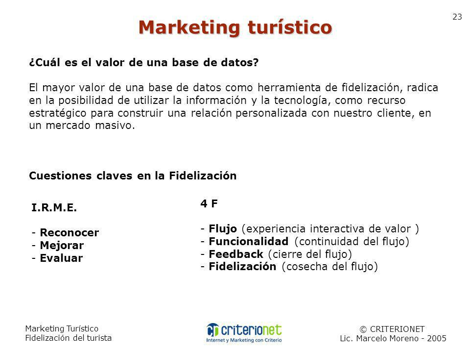 Marketing Turístico Fidelización del turista © CRITERIONET Lic. Marcelo Moreno - 2005 23 ¿Cuál es el valor de una base de datos? El mayor valor de una