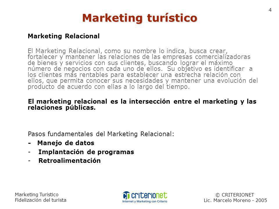 Marketing Turístico Fidelización del turista 5 CEM (Customer Experience Management): Hace referencia a las experiencias intangibles que se generan en la interacción de una empresa con el cliente.