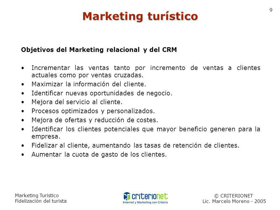 Marketing Turístico Fidelización del turista © CRITERIONET Lic. Marcelo Moreno - 2005 9 Marketing turístico Objetivos del Marketing relacional y del C