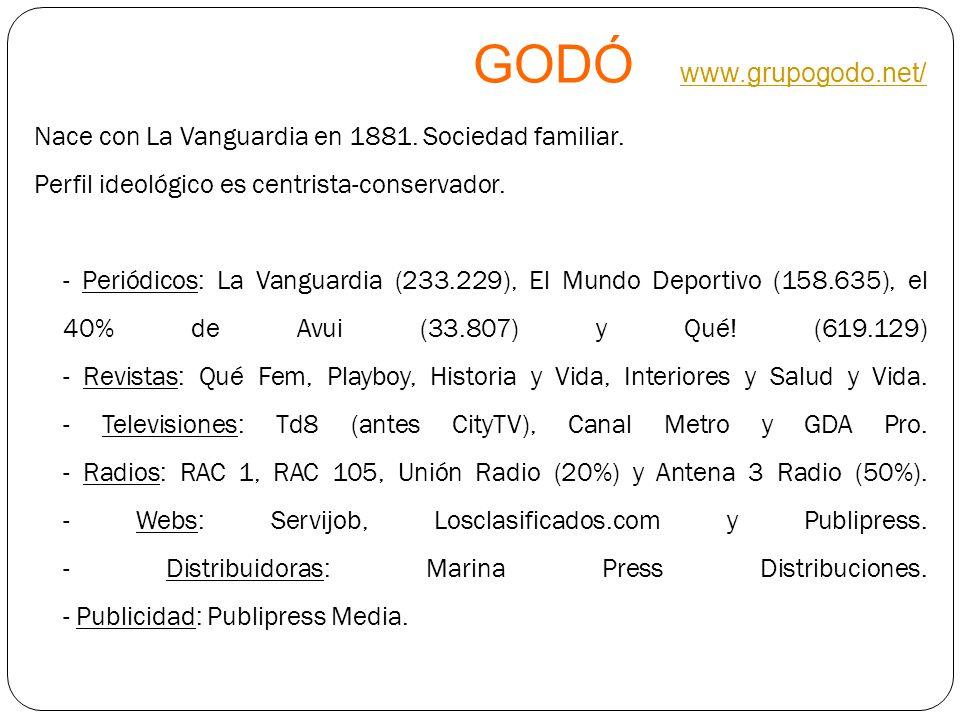 GODÓ www.grupogodo.net/ www.grupogodo.net/ Nace con La Vanguardia en 1881. Sociedad familiar. Perfil ideológico es centrista-conservador. - Periódicos