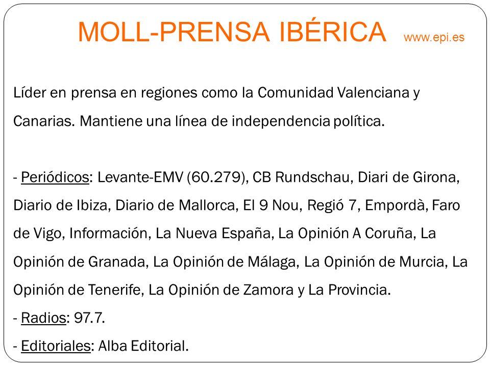 MOLL-PRENSA IBÉRICA www.epi.es Líder en prensa en regiones como la Comunidad Valenciana y Canarias. Mantiene una línea de independencia política. - Pe