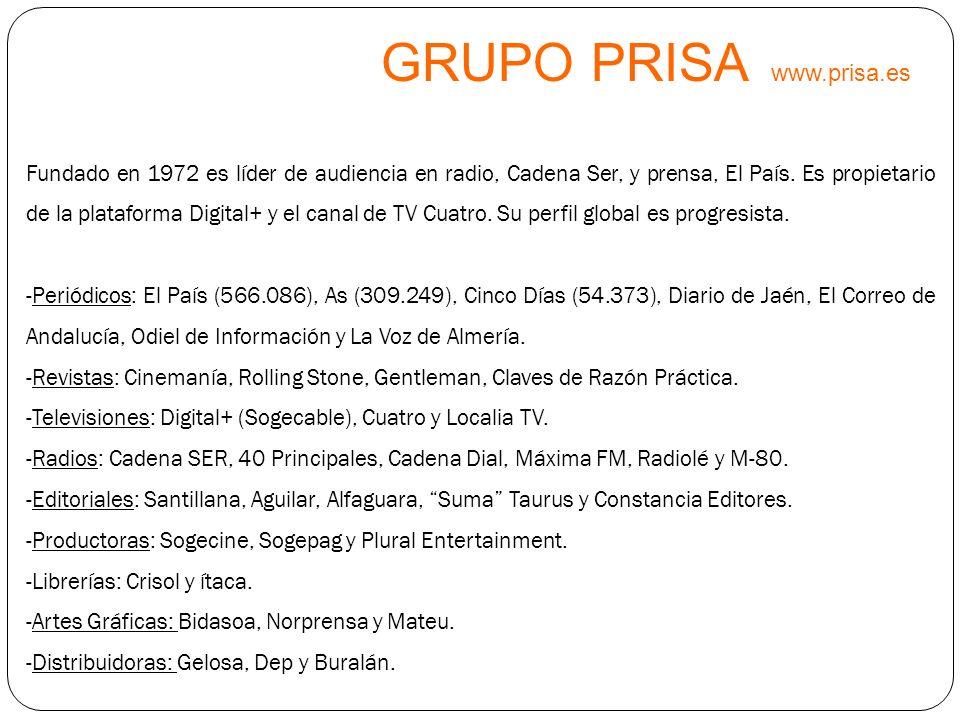 GRUPO PRISA www.prisa.es Fundado en 1972 es líder de audiencia en radio, Cadena Ser, y prensa, El País. Es propietario de la plataforma Digital+ y el