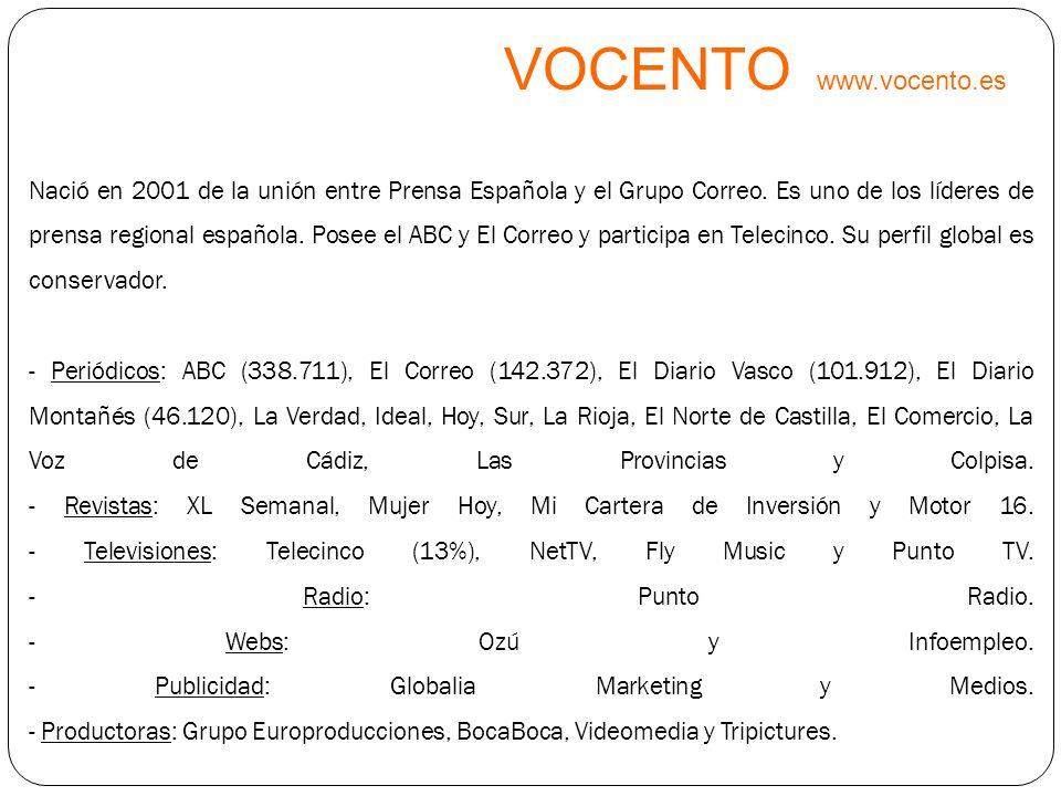 VOCENTO www.vocento.es Nació en 2001 de la unión entre Prensa Española y el Grupo Correo. Es uno de los líderes de prensa regional española. Posee el