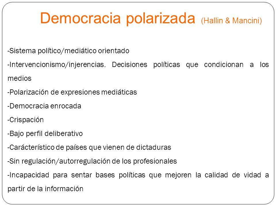 Democracia polarizada (Hallin & Mancini) -Sistema político/mediático orientado -Intervencionismo/injerencias. Decisiones políticas que condicionan a l