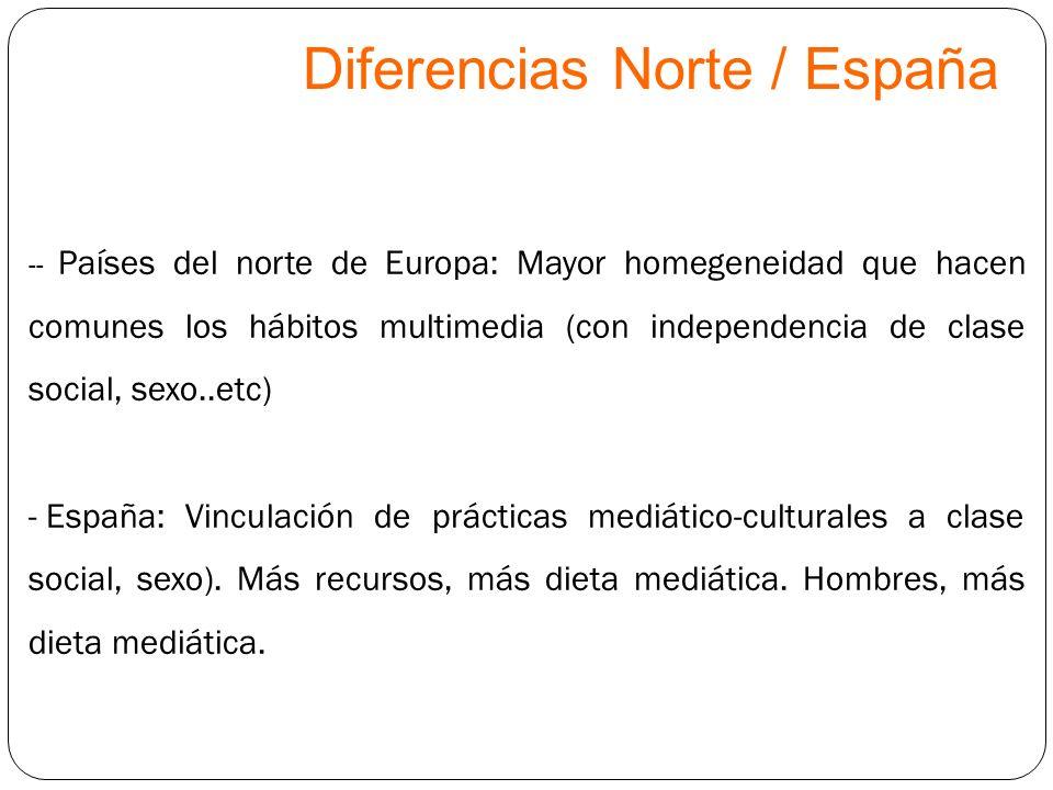 Diferencias Norte / España -- Países del norte de Europa: Mayor homegeneidad que hacen comunes los hábitos multimedia (con independencia de clase soci