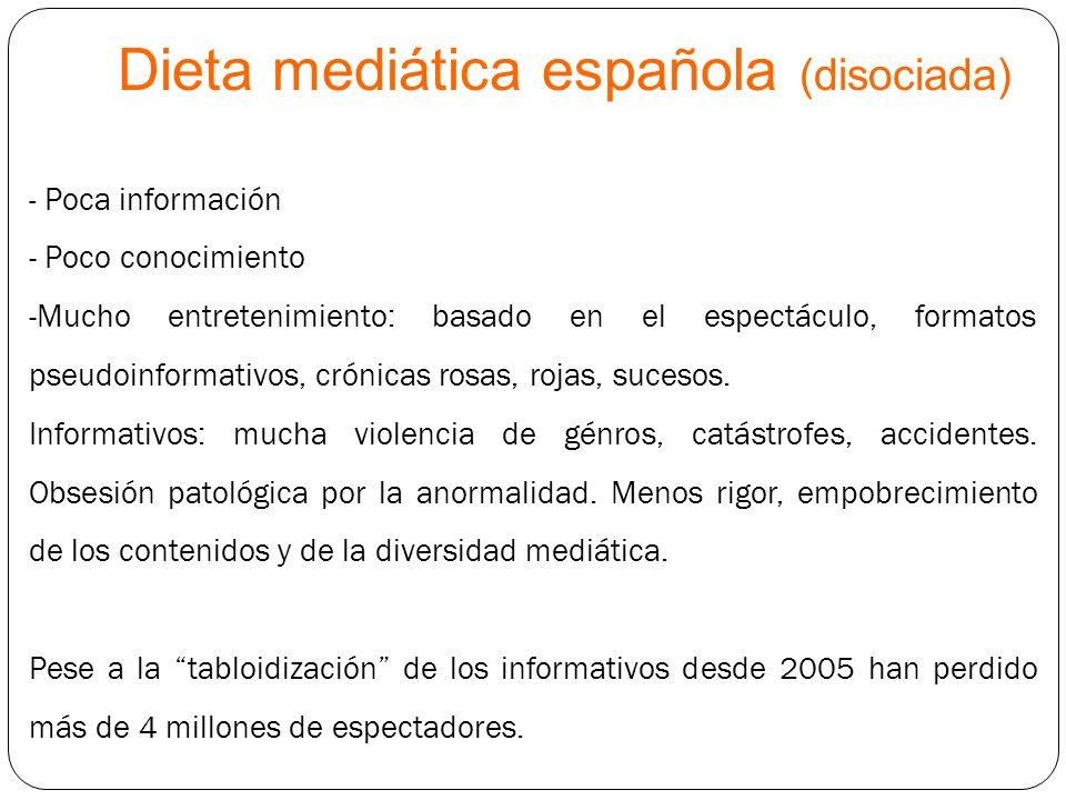 Dieta mediática española (disociada) - Poca información - Poco conocimiento -Mucho entretenimiento: basado en el espectáculo, formatos pseudoinformati