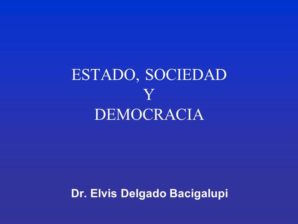 ESTADO, SOCIEDAD Y DEMOCRACIA Dr. Elvis Delgado Bacigalupi