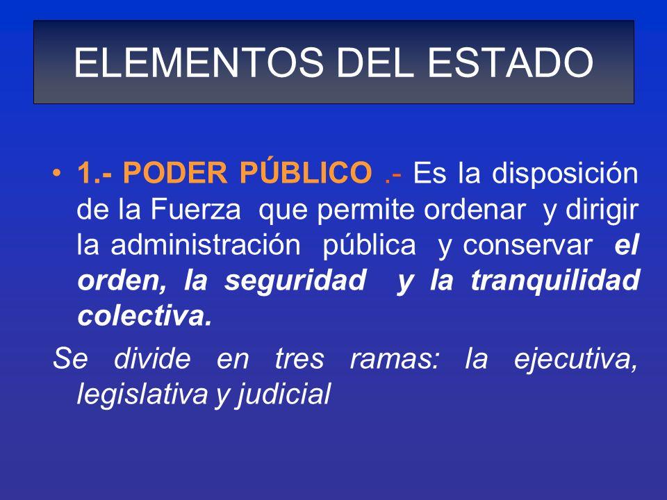 ELEMENTOS DEL ESTADO 1.- PODER PÚBLICO.- Es la disposición de la Fuerza que permite ordenar y dirigir la administración pública y conservar el orden,