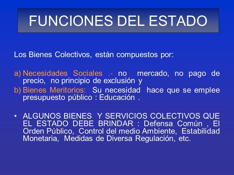 Los Bienes Colectivos, están compuestos por: a)Necesidades Sociales.- no mercado, no pago de precio, no principio de exclusión y b)Bienes Meritorios:
