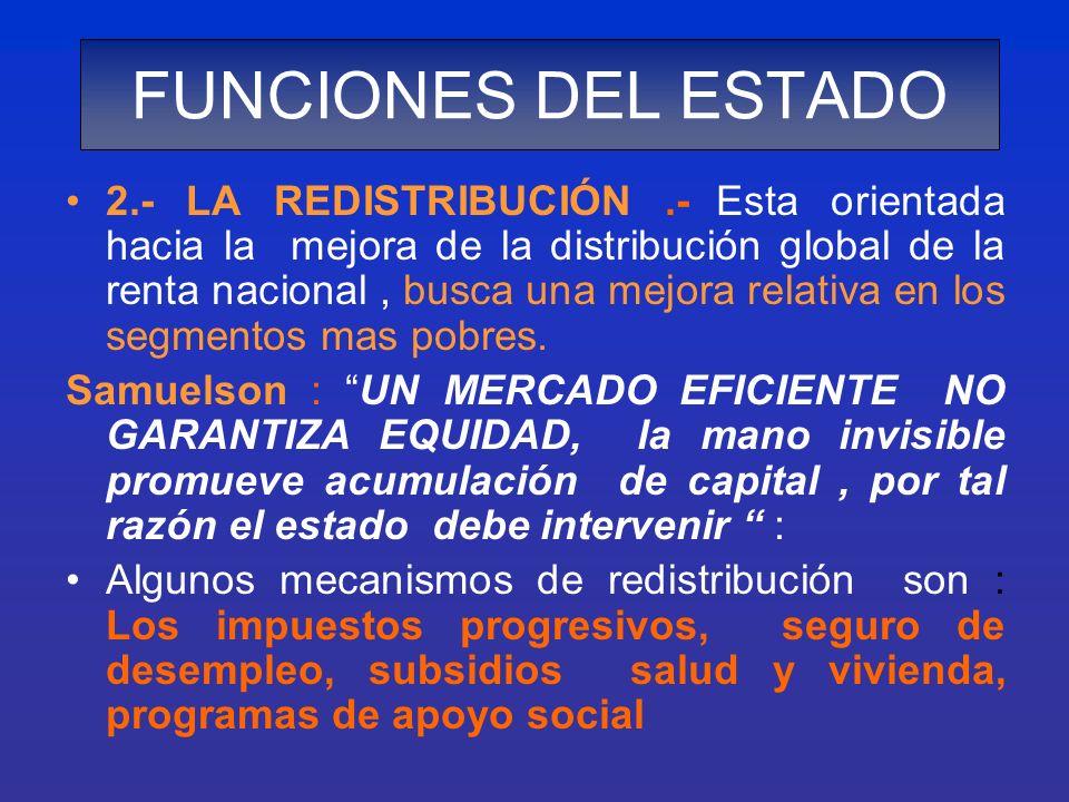 2.- LA REDISTRIBUCIÓN.- Esta orientada hacia la mejora de la distribución global de la renta nacional, busca una mejora relativa en los segmentos mas
