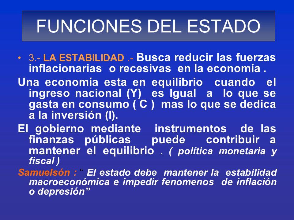 3.- LA ESTABILIDAD.- Busca reducir las fuerzas inflacionarias o recesivas en la economía. Una economía esta en equilibrio cuando el ingreso nacional (