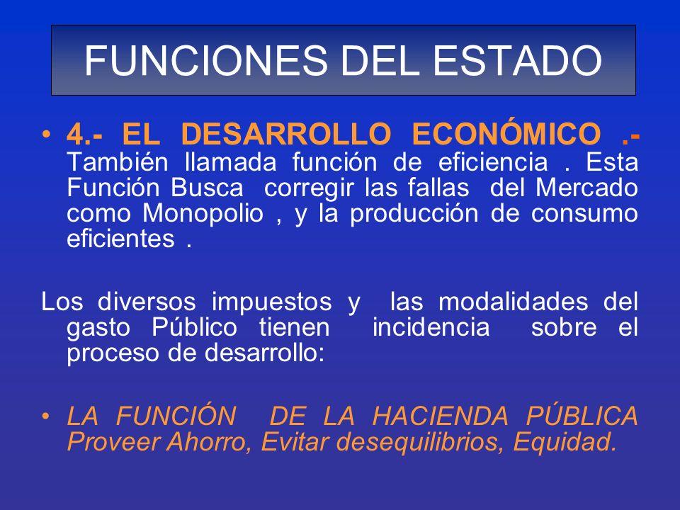 4.- EL DESARROLLO ECONÓMICO.- También llamada función de eficiencia. Esta Función Busca corregir las fallas del Mercado como Monopolio, y la producció
