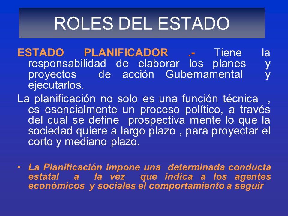 ESTADO PLANIFICADOR.- Tiene la responsabilidad de elaborar los planes y proyectos de acción Gubernamental y ejecutarlos. La planificación no solo es u