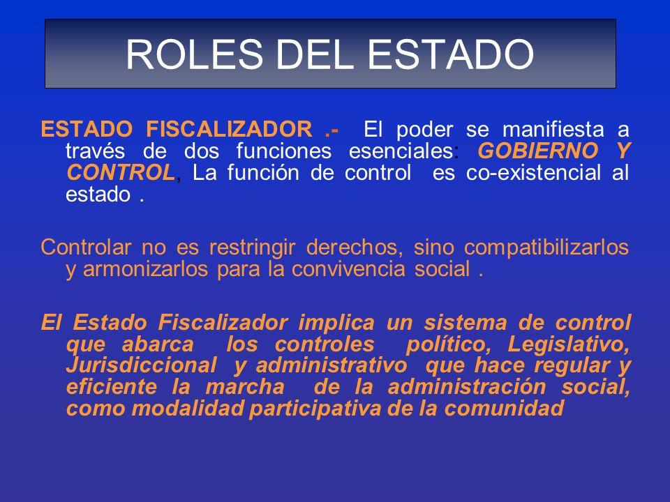 ESTADO FISCALIZADOR.- El poder se manifiesta a través de dos funciones esenciales: GOBIERNO Y CONTROL, La función de control es co-existencial al esta