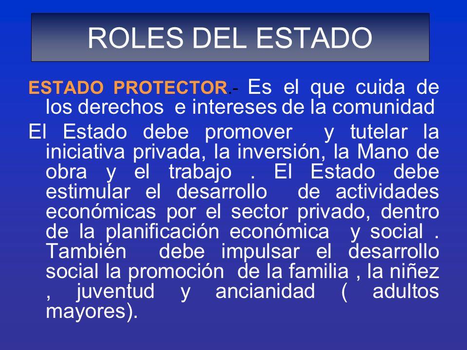 ESTADO PROTECTOR.- Es el que cuida de los derechos e intereses de la comunidad El Estado debe promover y tutelar la iniciativa privada, la inversión,