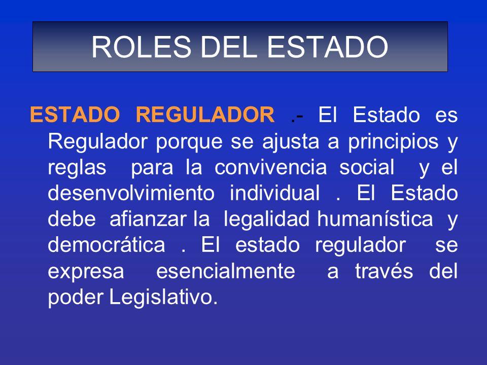 ESTADO REGULADOR.- El Estado es Regulador porque se ajusta a principios y reglas para la convivencia social y el desenvolvimiento individual. El Estad