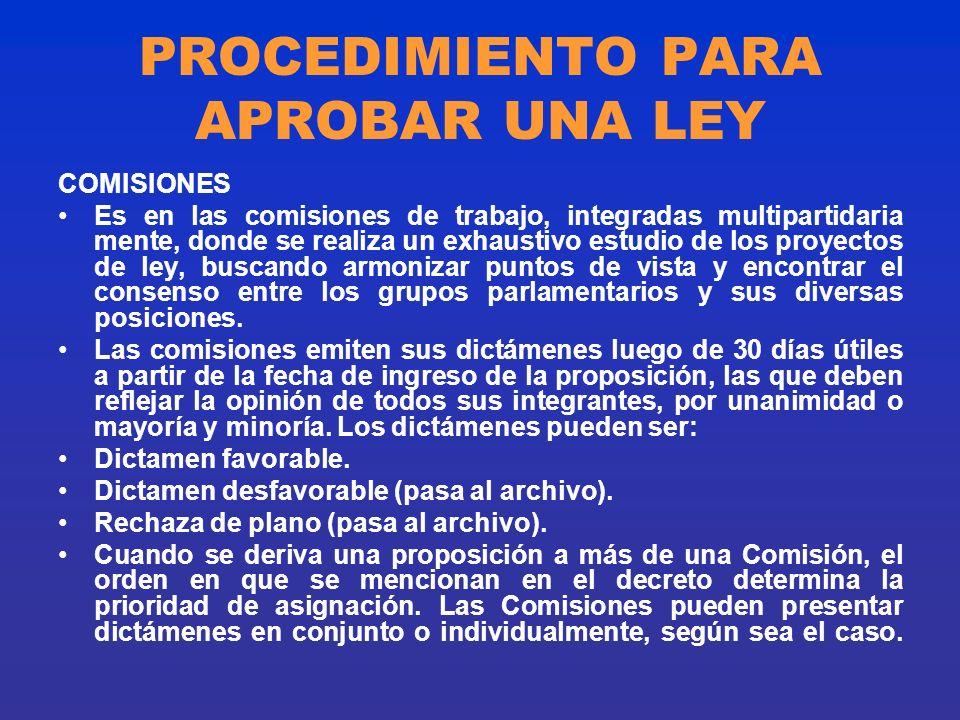 PROCEDIMIENTO PARA APROBAR UNA LEY COMISIONES Es en las comisiones de trabajo, integradas multipartidaria mente, donde se realiza un exhaustivo estudi