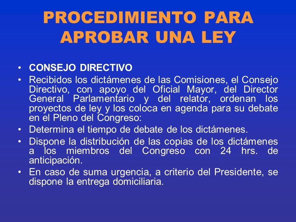 PROCEDIMIENTO PARA APROBAR UNA LEY CONSEJO DIRECTIVO Recibidos los dictámenes de las Comisiones, el Consejo Directivo, con apoyo del Oficial Mayor, de