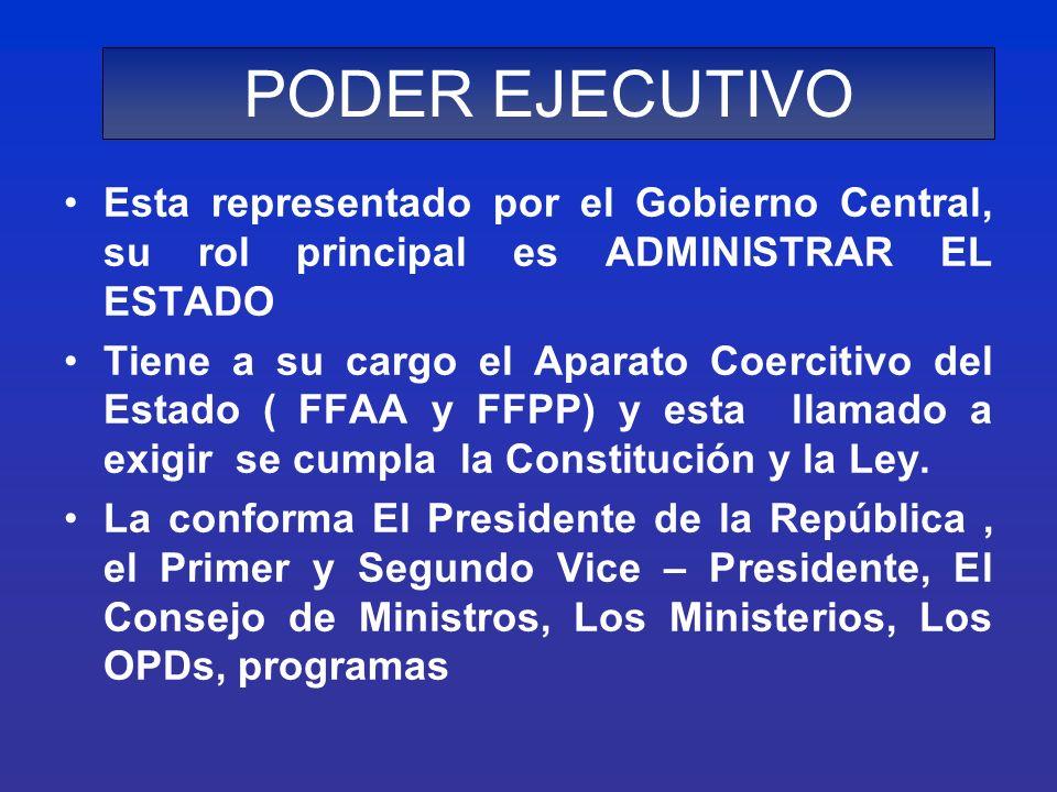 PODER EJECUTIVO Esta representado por el Gobierno Central, su rol principal es ADMINISTRAR EL ESTADO Tiene a su cargo el Aparato Coercitivo del Estado