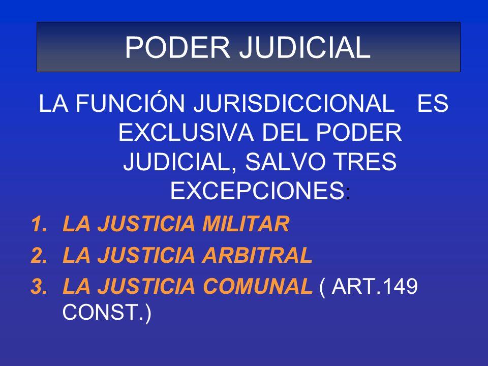 LA FUNCIÓN JURISDICCIONAL ES EXCLUSIVA DEL PODER JUDICIAL, SALVO TRES EXCEPCIONES : 1.LA JUSTICIA MILITAR 2.LA JUSTICIA ARBITRAL 3.LA JUSTICIA COMUNAL
