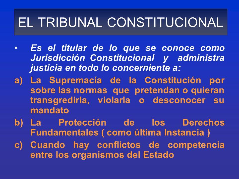 EL TRIBUNAL CONSTITUCIONAL Es el titular de lo que se conoce como Jurisdicción Constitucional y administra justicia en todo lo concerniente a: a)La Su