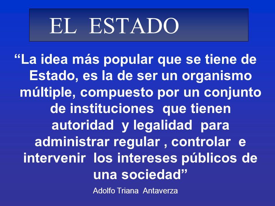 La idea más popular que se tiene de Estado, es la de ser un organismo múltiple, compuesto por un conjunto de instituciones que tienen autoridad y lega