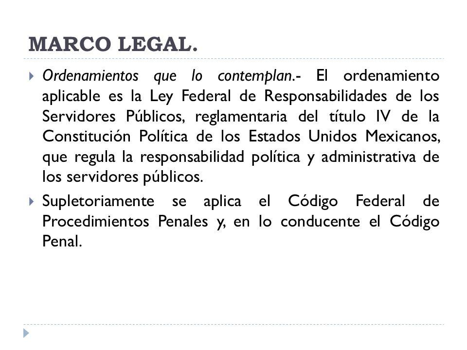 MARCO LEGAL. Ordenamientos que lo contemplan.- El ordenamiento aplicable es la Ley Federal de Responsabilidades de los Servidores Públicos, reglamenta