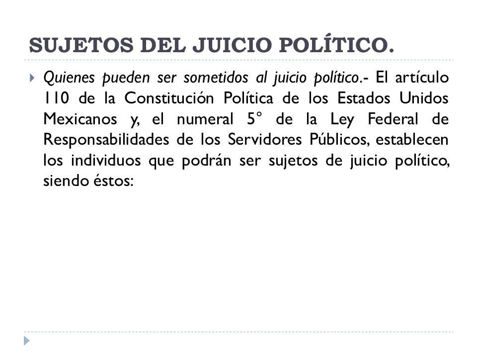 SUJETOS DEL JUICIO POLÍTICO. Quienes pueden ser sometidos al juicio político.- El artículo 110 de la Constitución Política de los Estados Unidos Mexic