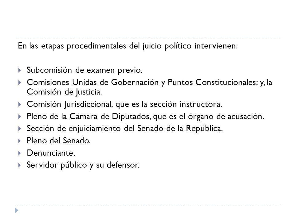 En las etapas procedimentales del juicio político intervienen: Subcomisión de examen previo. Comisiones Unidas de Gobernación y Puntos Constitucionale