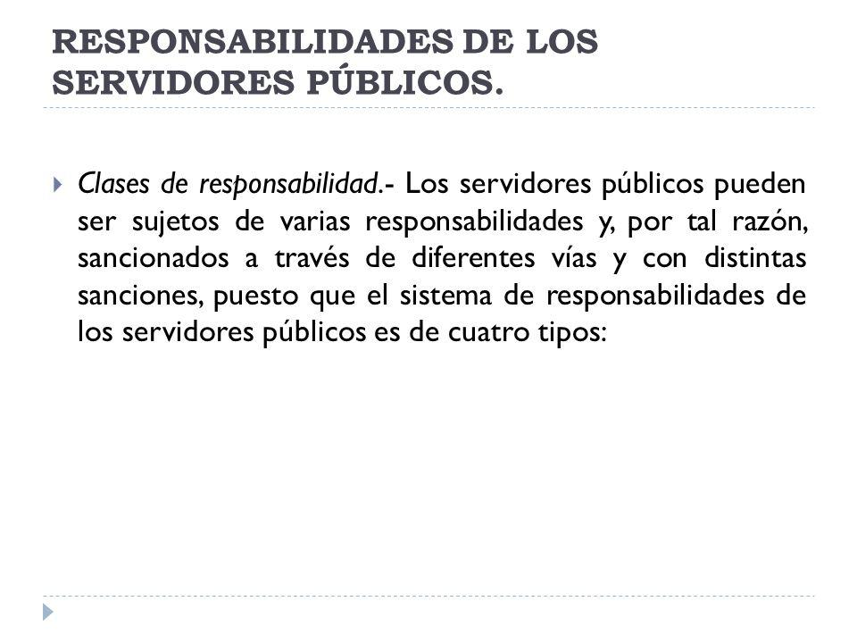 RESPONSABILIDADES DE LOS SERVIDORES PÚBLICOS. Clases de responsabilidad.- Los servidores públicos pueden ser sujetos de varias responsabilidades y, po