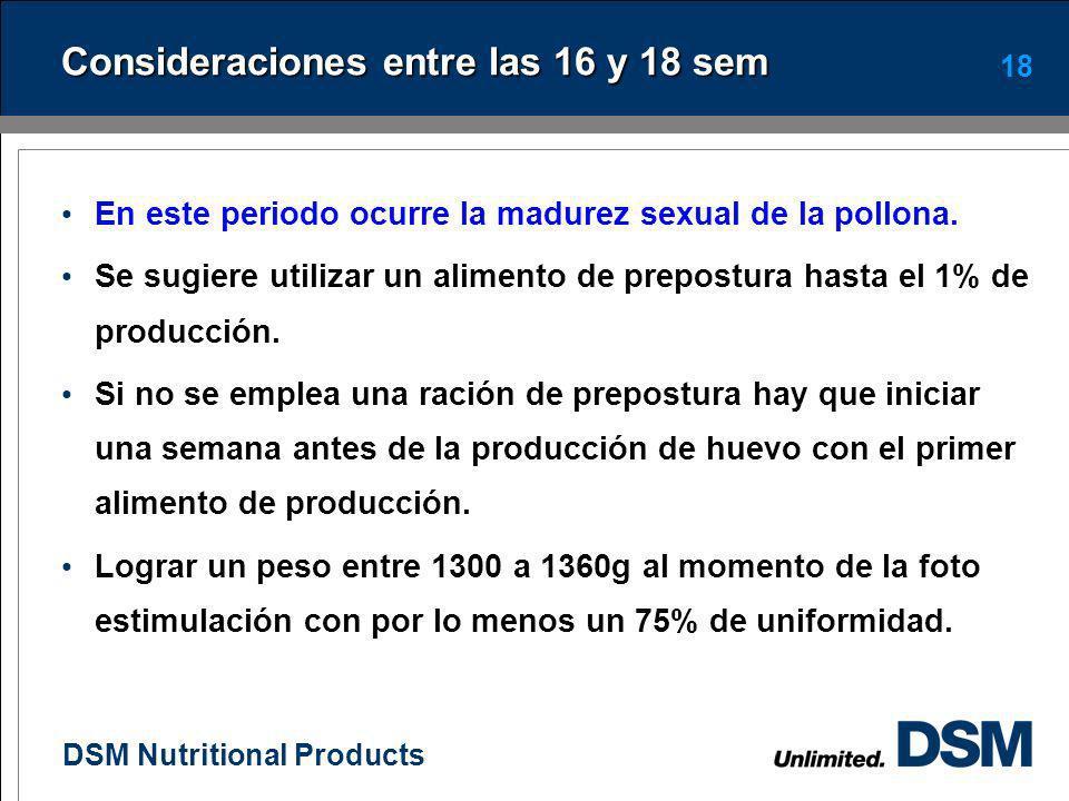 DSM Nutritional Products 17 Efecto del nivel de energía del alimento sobre el crecimiento de pollonas (0-20 sem) Energía de la ración, Kcal/kg Peso a