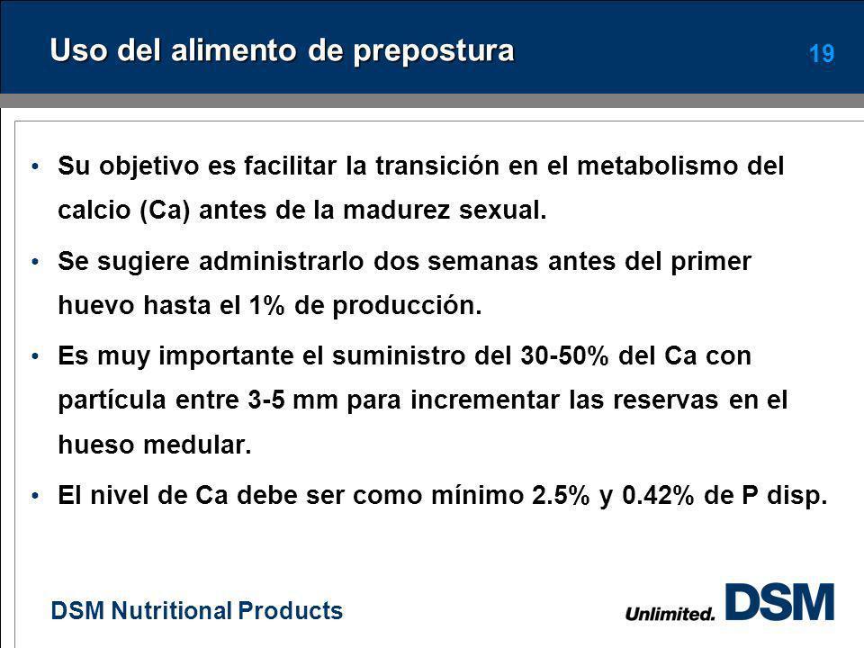 DSM Nutritional Products 18 Consideraciones entre las 16 y 18 sem En este periodo ocurre la madurez sexual de la pollona. Se sugiere utilizar un alime