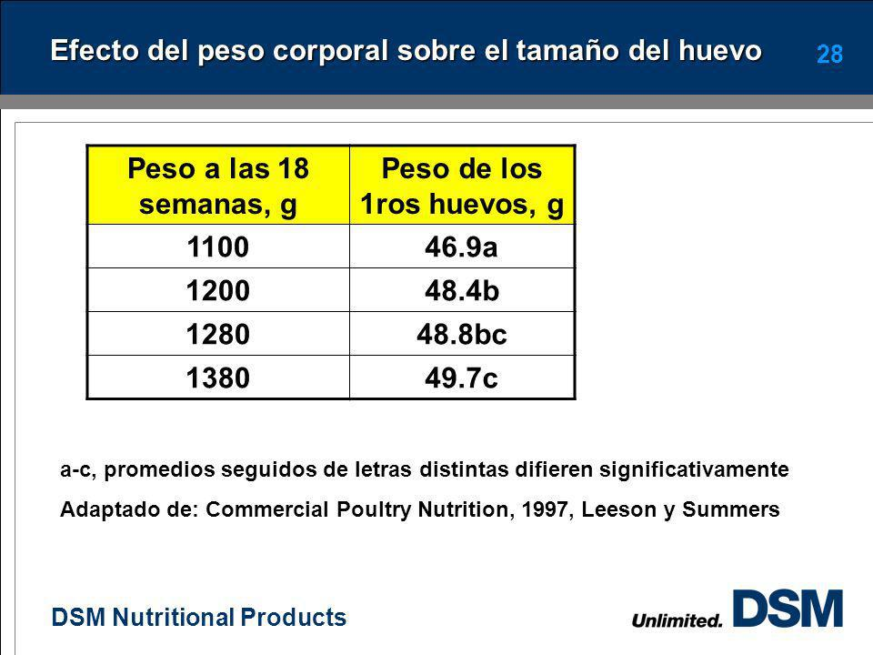 DSM Nutritional Products 27 Factores que afectan el tamaño del huevo El tamaño del huevo depende de la ingestion de los siguientes nutrimentos: Protei