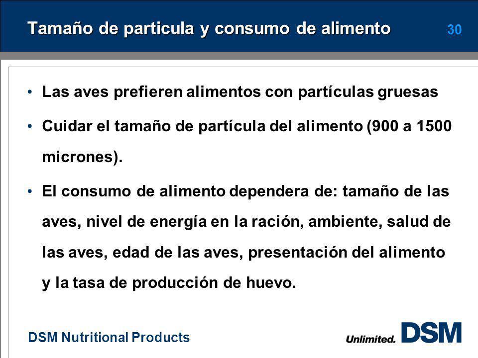 DSM Nutritional Products 29 Efecto de diferentes niveles de metionina sobre el tamaño del huevo EdadMetionina en la dieta (1) Incremento Sem0.230.260.
