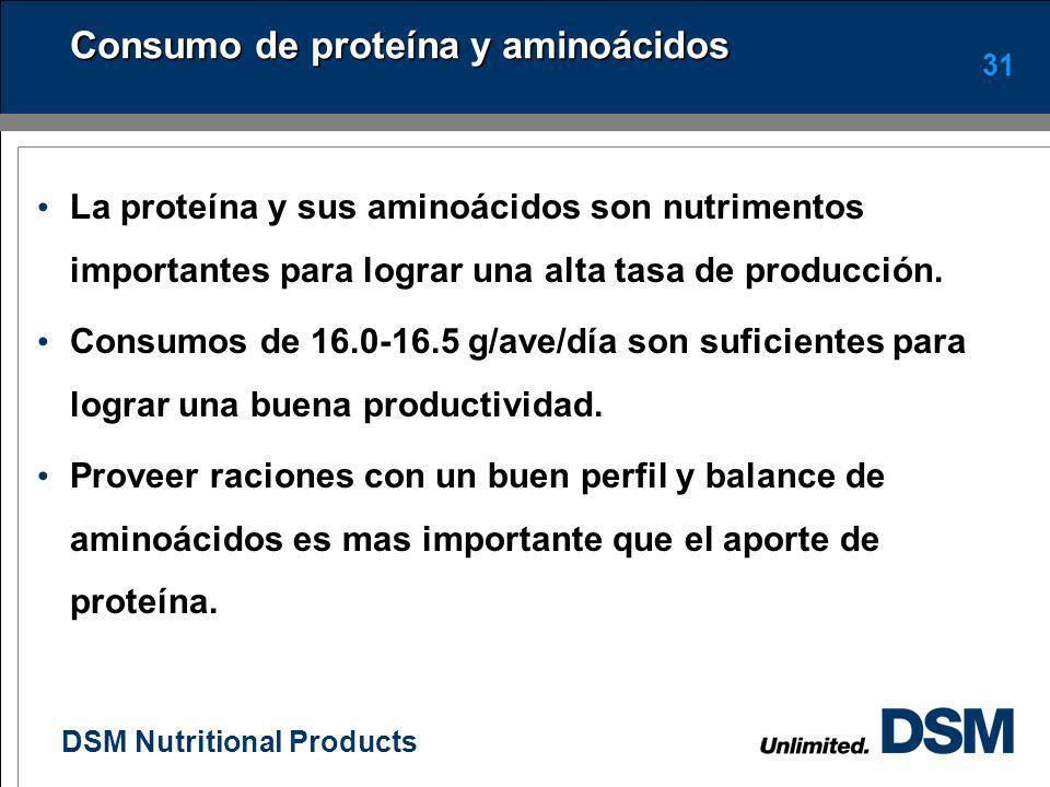 DSM Nutritional Products 30 Tamaño de particula y consumo de alimento Las aves prefieren alimentos con partículas gruesas Cuidar el tamaño de partícul