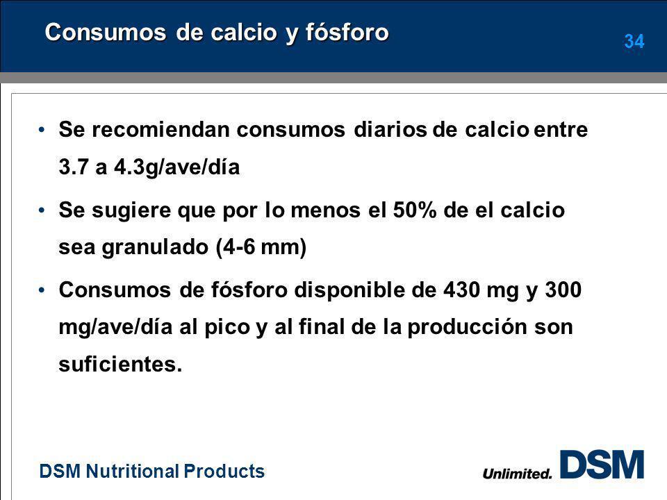 DSM Nutritional Products 33 Consumo de energía en las ponedoras La energía es el principal nutrimento que afecta la producción de huevo. Las aves come