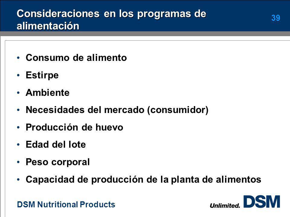 DSM Nutritional Products 38 Dieta 23 – 34 semanas ($25.280 / bulto) INGREDIENTE% NutrienteActualUnidad Maíz60,3 E.M.2850Kcal Torta Soya12,10 P.B.16,60