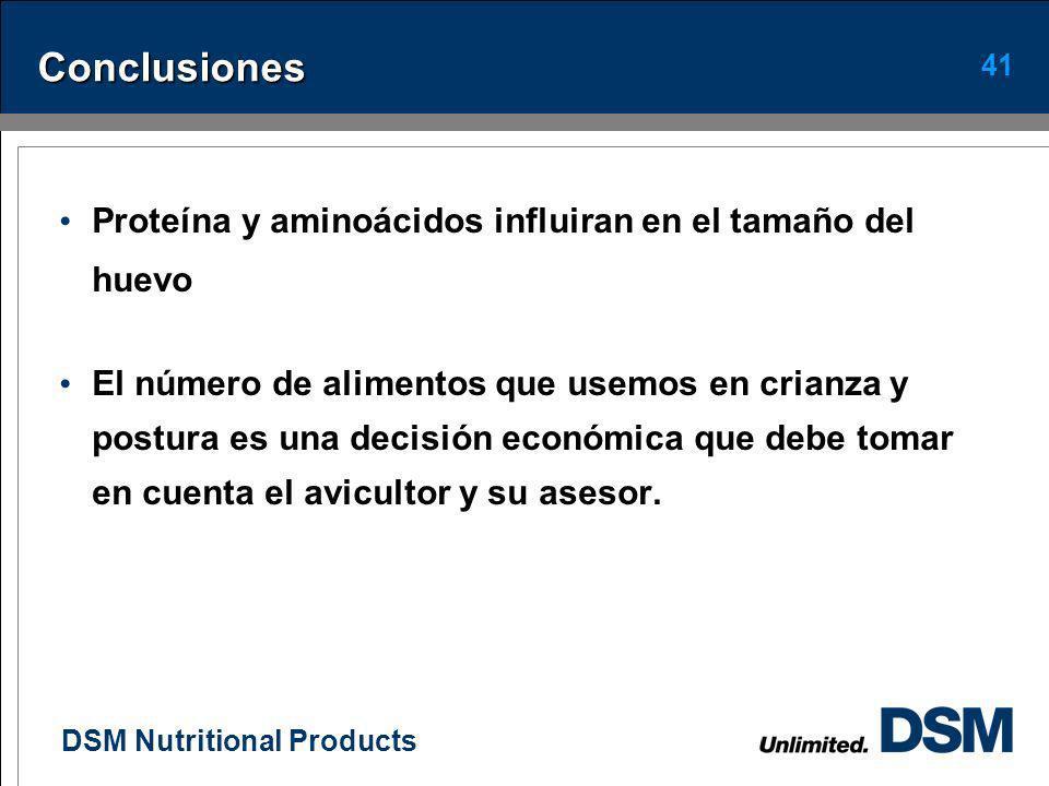 DSM Nutritional Products 40 Conclusiones El peso corporal y la uniformidad de las pollas son de mucha importancia para lograr una buena productividad.