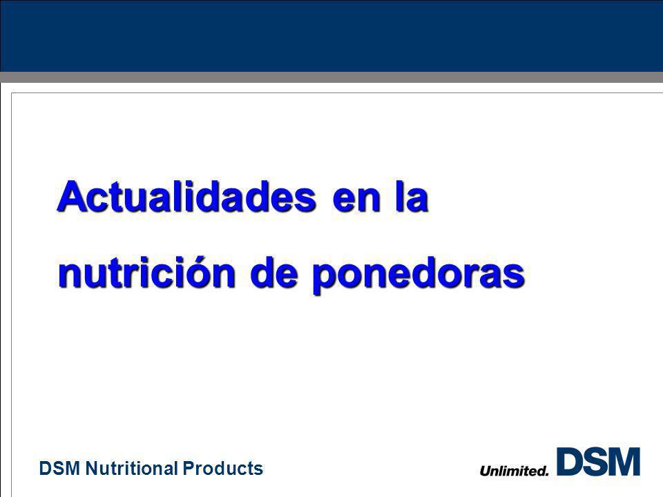 DSM Nutritional Products 41 Conclusiones Proteína y aminoácidos influiran en el tamaño del huevo El número de alimentos que usemos en crianza y postur