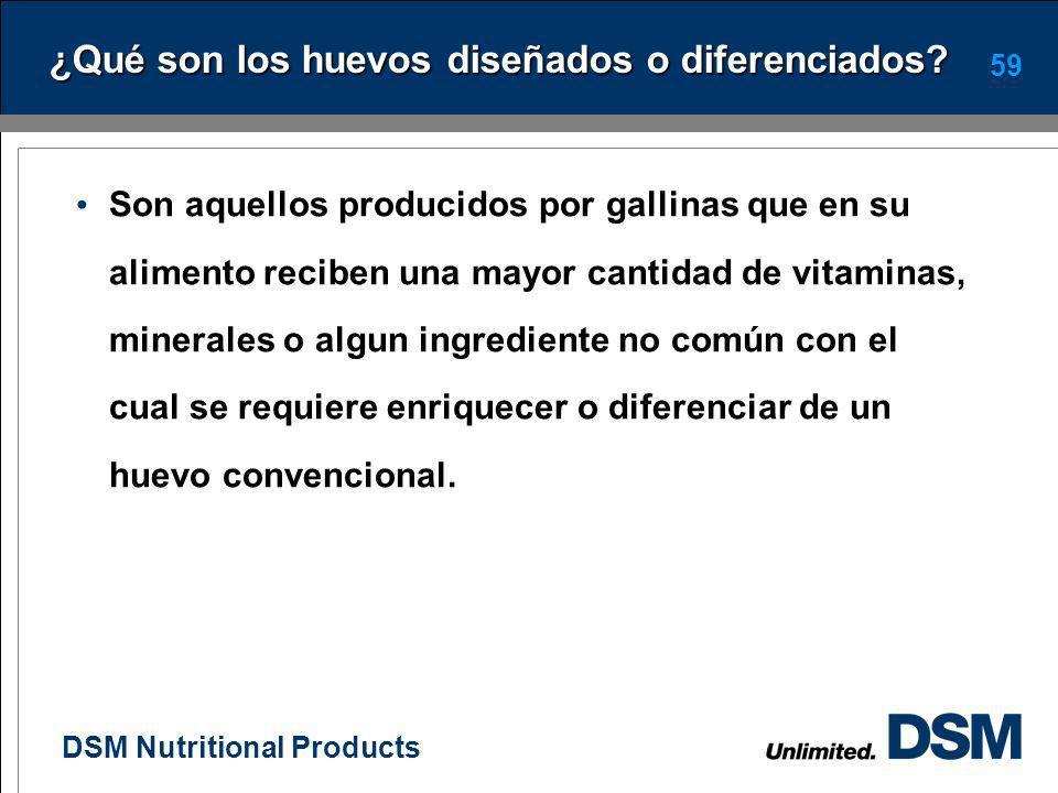 DSM Nutritional Products 58 Huevos Diseñados o Diferenciados El huevo naturalmente contiene nutrimentos esenciales y funcionales que promueven la salu
