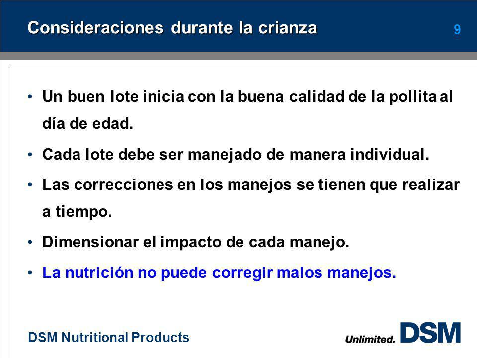 DSM Nutritional Products 8 Objetivos en crianza Lograr un peso de por lo menos de 1.25 - 1.30 kg a 18 semanas en estirpes blancas Lograr un peso de po