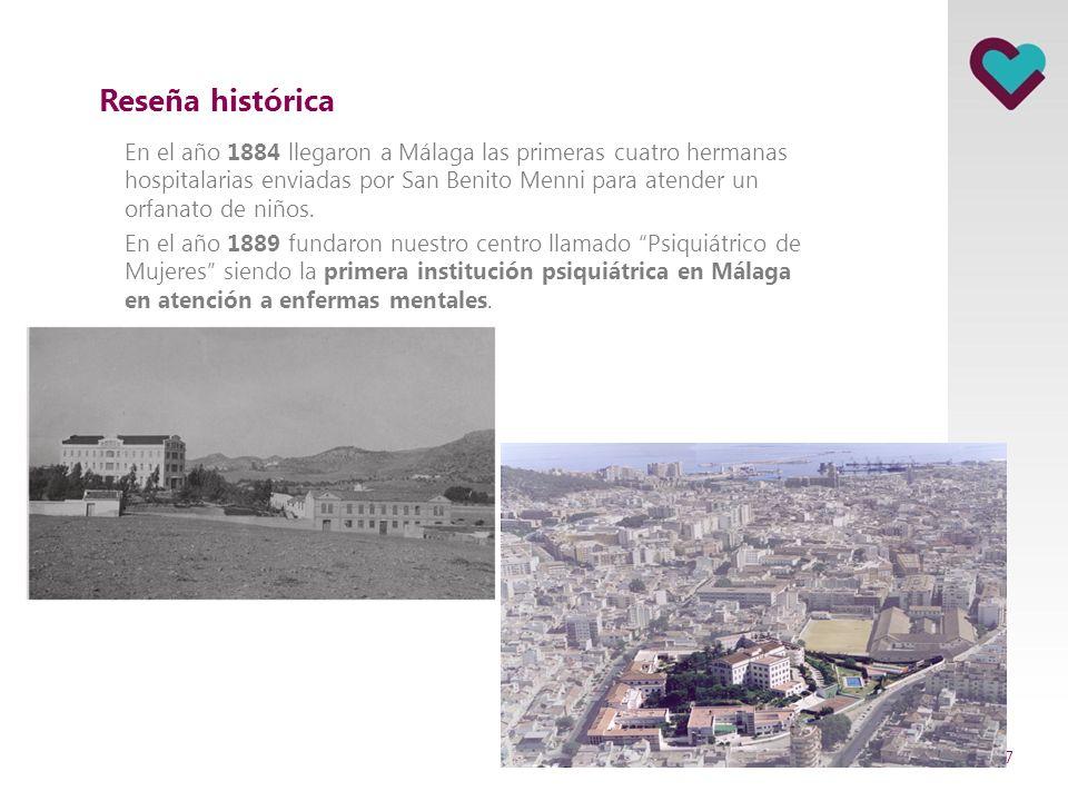 Reseña histórica En el año 1884 llegaron a Málaga las primeras cuatro hermanas hospitalarias enviadas por San Benito Menni para atender un orfanato de niños.