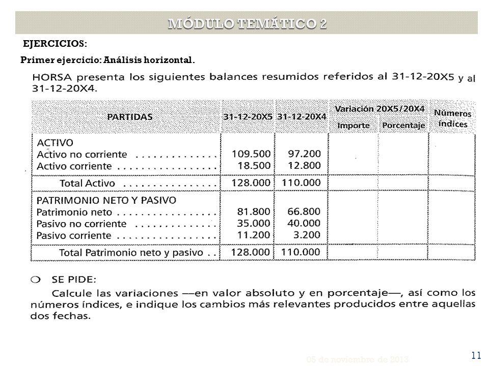 EJERCICIOS: Primer ejercicio: Análisis horizontal. 05 de noviembre de 2013 11