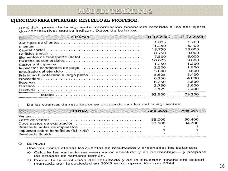EJERCICIO PARA ENTREGAR RESUELTO AL PROFESOR. 05 de noviembre de 2013 16