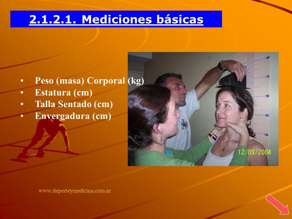 www.deporteymedicina.com.ar Peso (masa) Corporal (kg) Estatura (cm) Talla Sentado (cm) Envergadura (cm) 2.1.2.1. Mediciones básicas