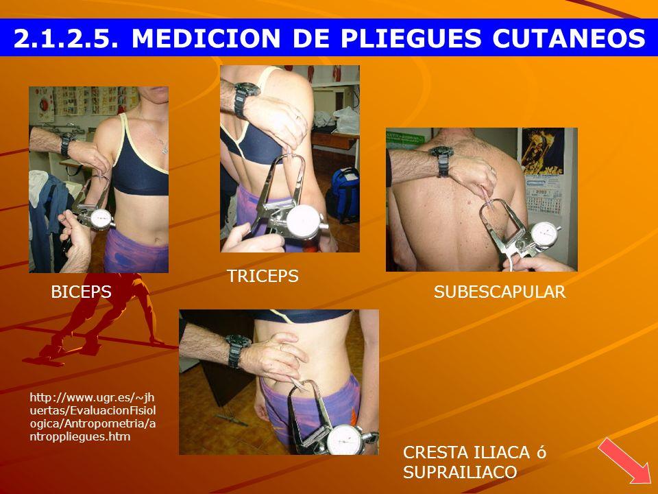 BICEPS TRICEPS SUBESCAPULAR CRESTA ILIACA ó SUPRAILIACO 2.1.2.5. MEDICION DE PLIEGUES CUTANEOS http://www.ugr.es/~jh uertas/EvaluacionFisiol ogica/Ant