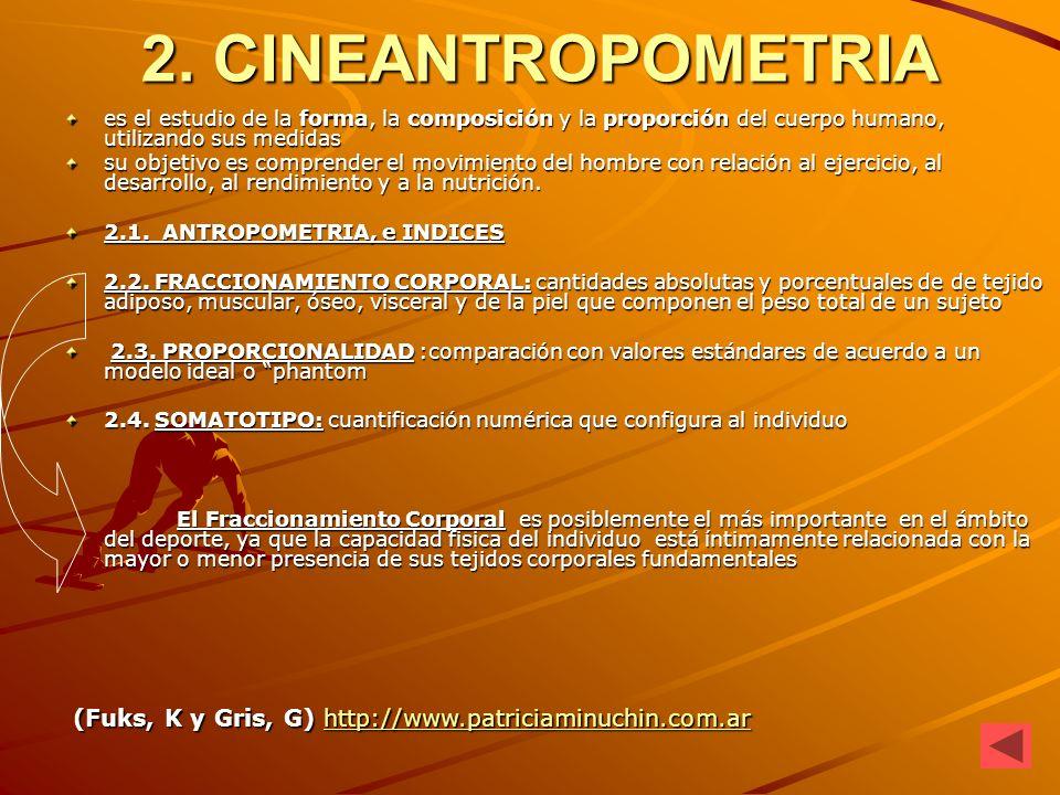 2. CINEANTROPOMETRIA es el estudio de la forma, la composición y la proporción del cuerpo humano, utilizando sus medidas su objetivo es comprender el