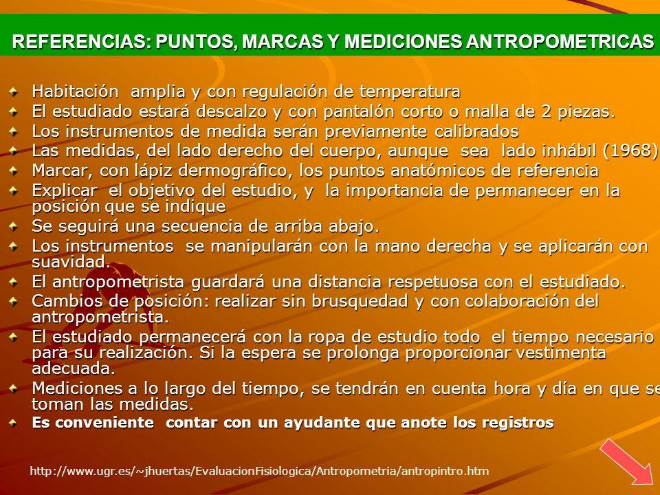 REFERENCIAS: PUNTOS, MARCAS Y MEDICIONES ANTROPOMETRICAS REFERENCIAS: PUNTOS, MARCAS Y MEDICIONES ANTROPOMETRICAS Habitación amplia y con regulación d